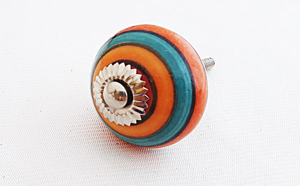 Ceramic colorful spiral 4cm round door knob