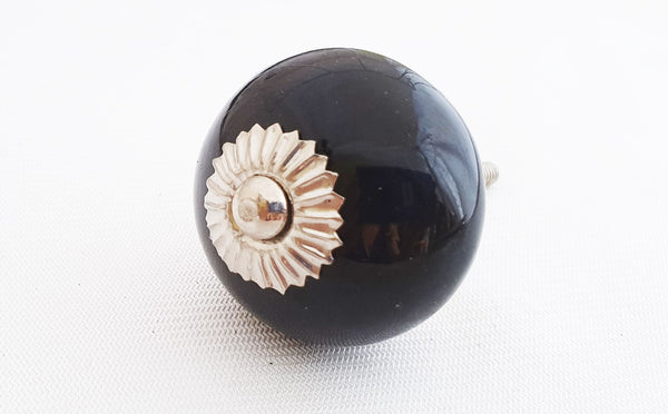 Ceramic black 4cm round door knob