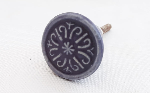 Ceramic small purple embossed vintage 3cm round door knob
