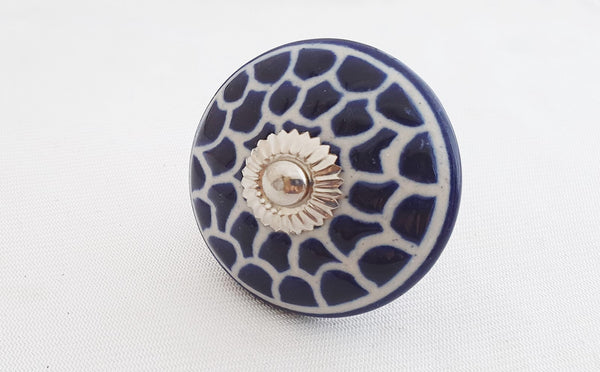 Ceramic big beautiful blue embossed 5.5 round door knob