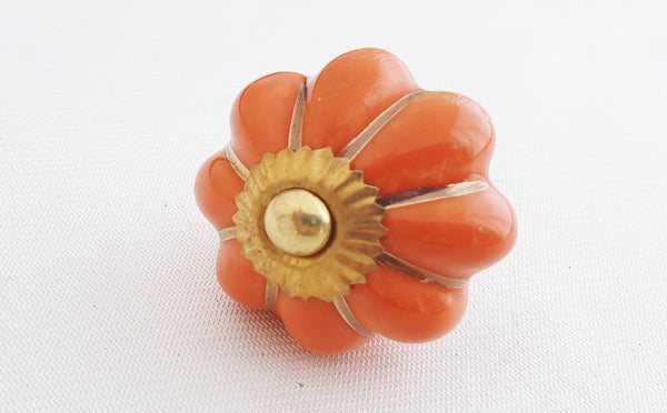 Ceramic orange gold 4.5cm pumpkin door knob