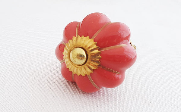 Ceramic red gold 4.5cm pumpkin door knob