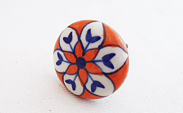 Ceramic red/orange blue beautful mandala 4cm round door knob