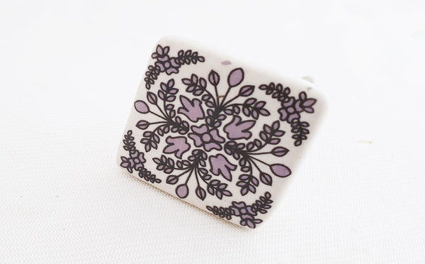Ceramic floral purple white printed square 4cm door knob