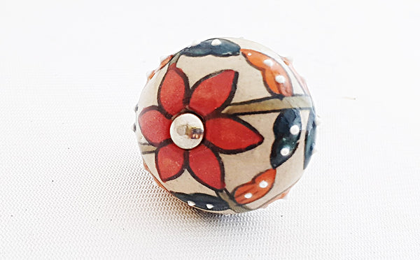 Ceramic colorful embossed floral design round 4cm door knob