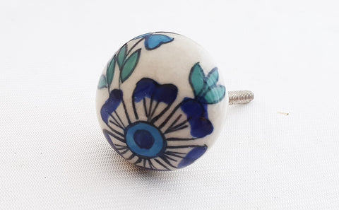 Ceramic beautiful delicate floral design blue round 4cm door knob