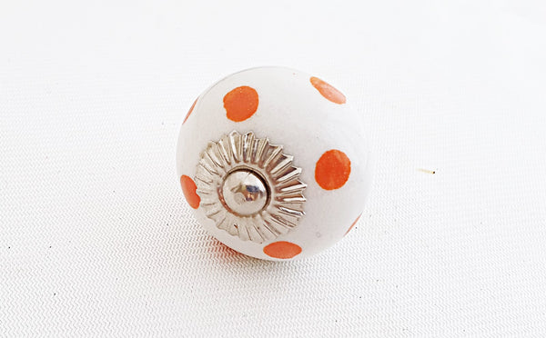 Ceramic shabby chic orange dots 4cm round door knob