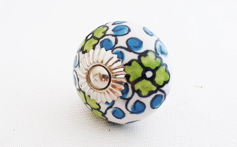 Ceramic blue green intricate floral design 4cm round door knob