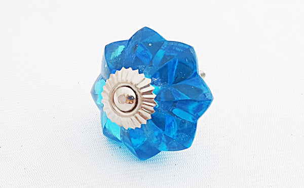 Glass turquoise flower 4cm door knob