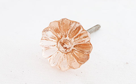 Glass shabby chic salmon pink Flower 3.5cm round door knob