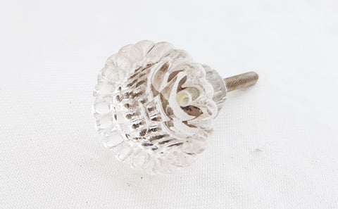 Glass shabby chic clear flower 3.5cm door knob