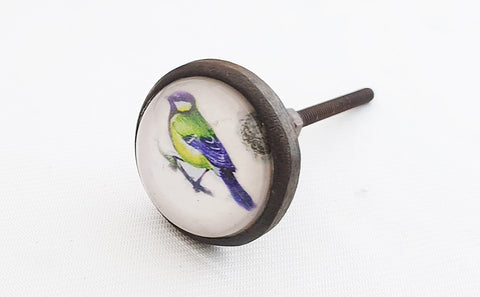 Glass metal retro vintage style shabby chic bird round 4cm door knob