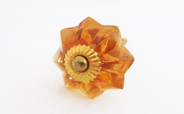 Glass shabby chic salmon pink orange flower 4.5cm pumpkin door knob
