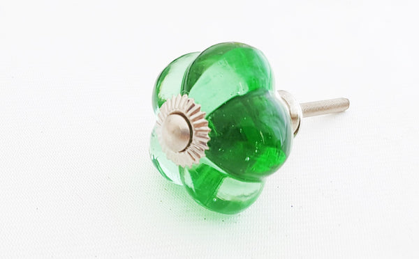 Glass elegant green shabby chic flower 3cm door knob