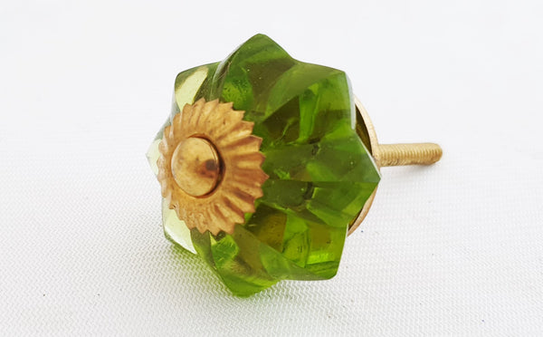 Glass olive green flower 4.5cm pumpkin door knob