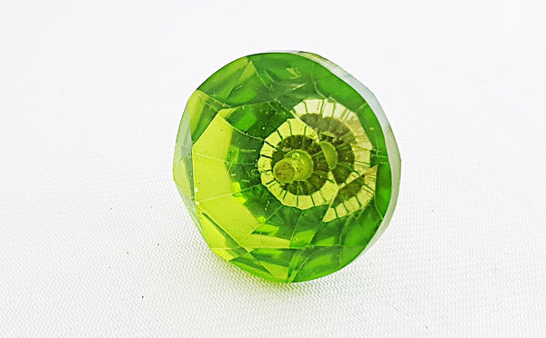 Glass shabby chic green crystal natural cut design 4.5cm round door knob