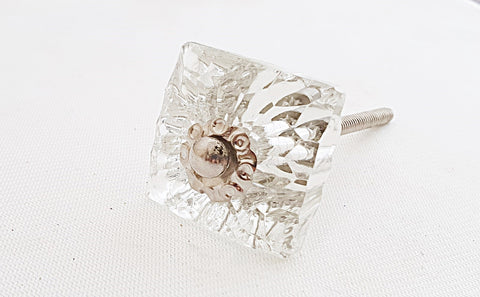 Glass shabby chic crystal clear square 4cm door knob
