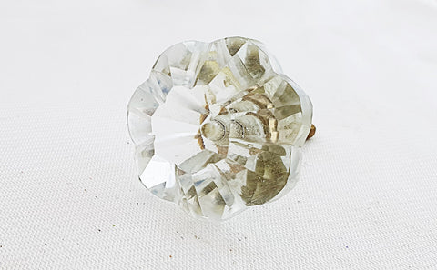 Glass shabby chic clear flower 4cm round door knob