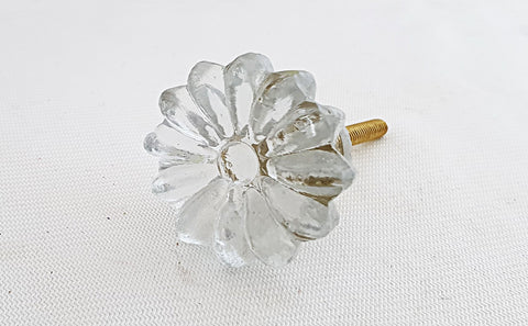 Glass shabby chic clear Flower 3.5cm round door knob