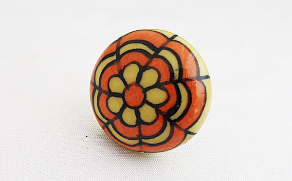 Ceramic orange yellow funkyfloral  4.5cm round door knob