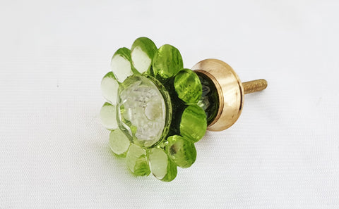 Glass green flower shabby chic vintage style 4cm round door knob