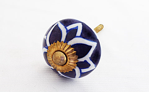 Ceramic blue white floral 4cm round door knob