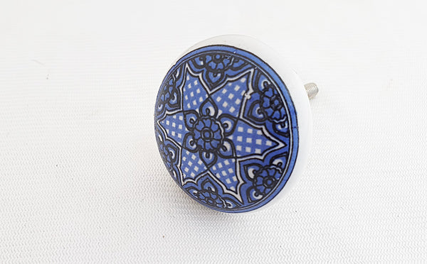 Ceramic delicate blue printed 4cm round door knob