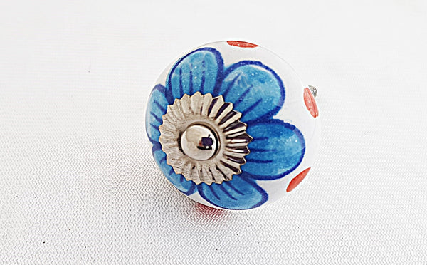 Ceramic blue flower 4cm round door knob
