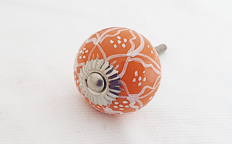 Ceramic orange delicate floral design round 4cm door knob