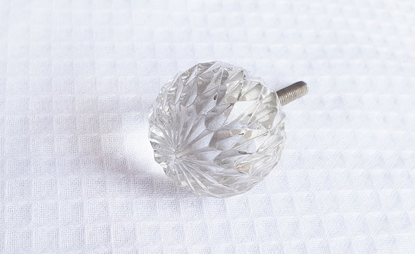 Glass crystal cut small 3cm shabby chic ball clear door knobs