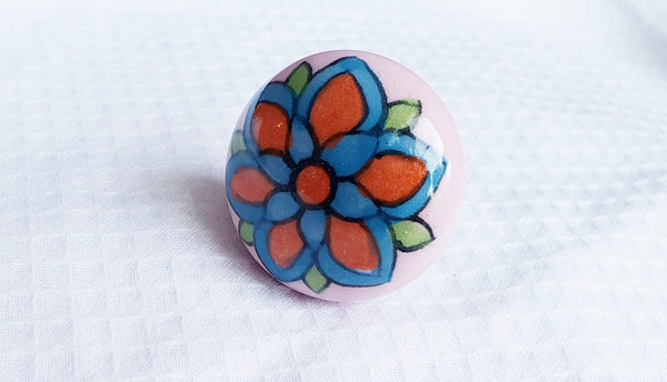 Ceramic 4cm Pink/Orange/BluE round floral door knobs