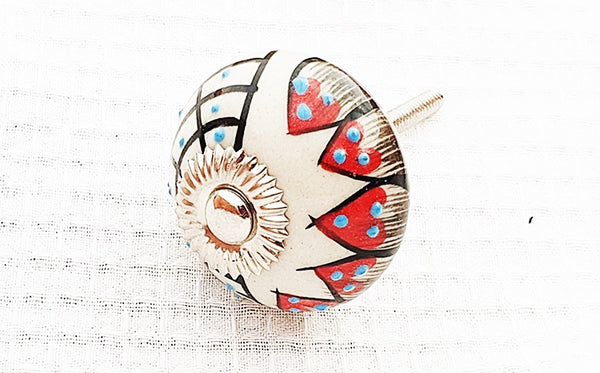 Ceramic white red black unique delicate design 4cm round door knob