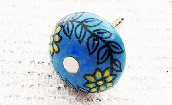 Ceramic aqua yellow floral design 4cm round door knob