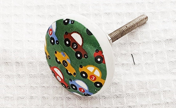 Ceramic green colorful cars kids print 4cm round door knob