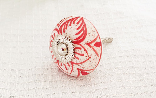 Ceramic red white  delicate floral design 4cm round door knob