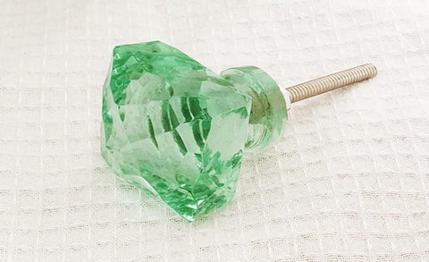 Glass shabby chic green crystal style square 4cm  door knobs