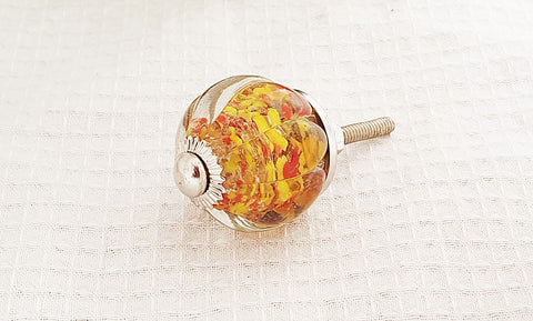Glass shabby chic crystal style ball red with unique locked yellow flowers 3.5cm  door knobs