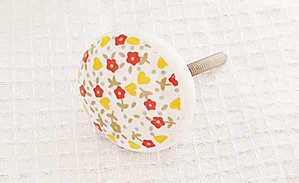 Ceramic delicate shabby chic red yellow flowers print 4cm round door knob
