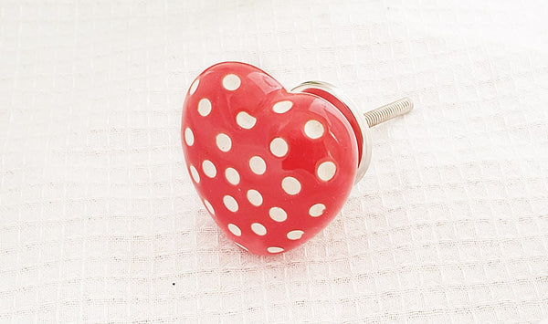 Ceramic shabby chic funky heart shape red white dots 5cm door knobs