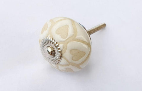 Ceramic cream vintage shabby chic style unique embossed 4cm round door knob