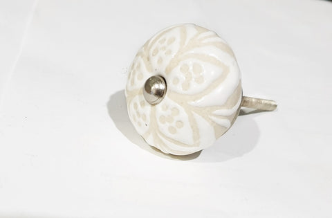 Ceramic cream vintage shabby chic style unique flower embossed 4cm round door knob