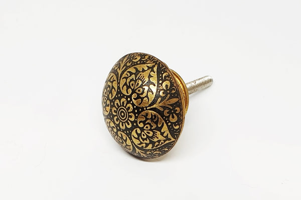 metal aluminium black/gold vintage unique style 3.5cm round door knob