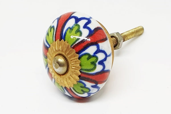 Ceramic colorful floral design 4cm round door knog