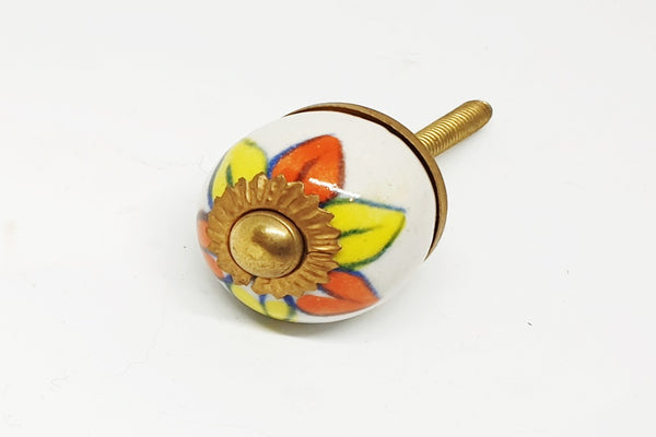 small 28mm ceramic orange yellow round door knobs pulls handles