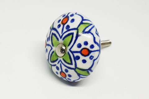 Ceramic blue beautiful moroccan design 4cm round door knob