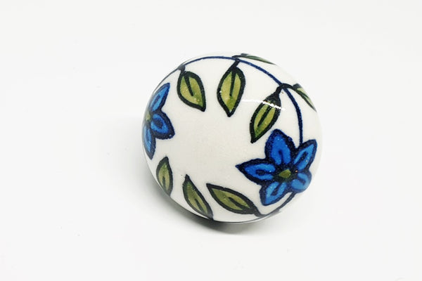 Ceramic green yellow delicate floral design 4cm round door knob pulls handles