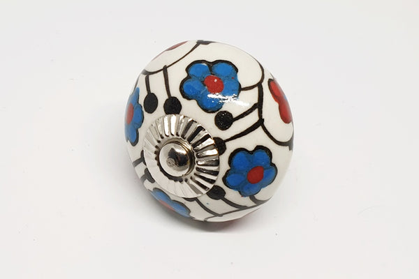 Ceramic 4cm red blue white intricate floral 4cm round door knob handles