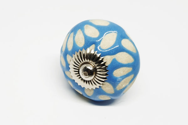 Ceramic aqua blue unique funky design flower embossed 4cm round door knob handles