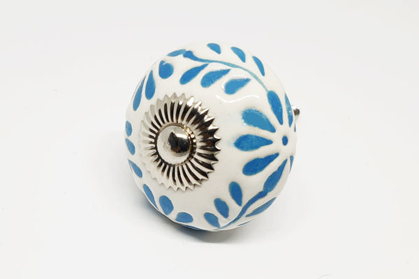 Ceramic white blue turquoise unique funky design flower embossed 4cm round door knob handles