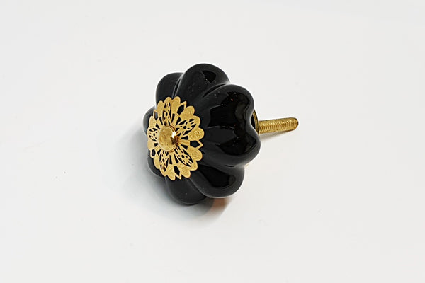 Ceramic unique black gold metal decor 4.5cm pumpkin door knob handles